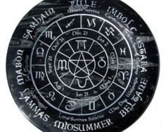 Old World Pagan Wheel of the Year -fully engraved- Altar offering Plate on Fossil