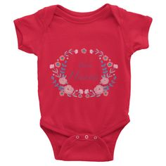 Custom name text Infant short sleeve one-piece with violet flowers wreath, personalized baby clothing