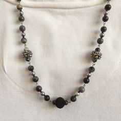 Black gray stone necklace Gray black beaded by BarbsBeadedJewelry