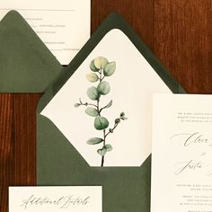 A hand painted eucalyptus sprig envelope liner adds impact to this traditional letterpress wedding invitation suite. Custom Wedding Stationery By Ivory Isle Designs wedding invitations Watercolor Eucalyptus Envelope Liner Traditional Wedding Invitations, Handmade Wedding Invitations, Letterpress Wedding Invitations, Wedding Envelopes, Watercolor Wedding Invitations, Printable Wedding Invitations, Wedding Invitation Design, Invitation Suite, Wedding Stationery