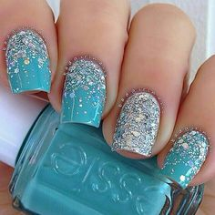 Light blue and silver sparkle nail design #prom