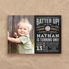 Photo Baseball Birthday Invitation first by QuiteFetchingDIY