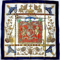 Rare Vintage HERMES scarf foulard carre The Queen's Silver Jubilee 1977 #HERMS #Scarf