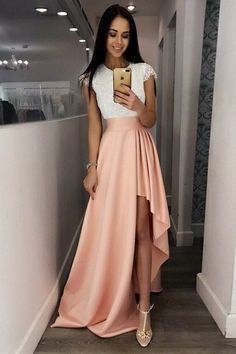 A-Line Crew Cap Sleeves Split-Side Pink Satin Prom Dress with Lace,scoop neck dresses,high low prom dresses,cap sleeve dresses,sweep train dresses High Low Prom Dresses, Pink Prom Dresses, A Line Prom Dresses, Prom Dresses With Sleeves, Grad Dresses, Cheap Prom Dresses, Dresses For Teens, Homecoming Dresses, Dress Prom