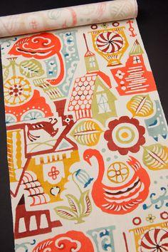 関美穂子作 型絵染め名古屋帯 【どこか】 Japanese Colors, Japanese Patterns, Japanese Fabric, Ethnic Patterns, Print Patterns, Vintage Japanese, Japanese Art, Hipster Drawings, Vintage Kimono