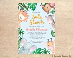 Custom Baby Shower Invitation - Animal Safari Jungle - Gender Neutral - DIY printing