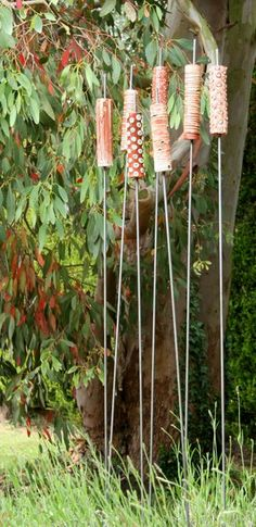 Ceramic Sculpture Kirsteen Holuj - Buckinghamshire . . .potter's totem - otherwise known as weenie roasting poles . . .