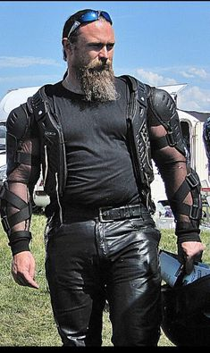 Men's Leather boots are very popular among all men, especially motorcycle riders, bikers, cowboys and guys who just want to be and feel sexy at all times. Mens Leather Pants, Biker Leather, Leather Boots, Black Leather, Hairy Men, Bearded Men, Beefy Men, Men In Uniform, Big Men