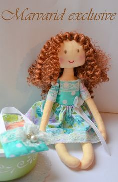 Rag doll rag Ann doll handmade  Christmas  gift girl doll interior doll in dress kinky doll peppermint doll dress with purse and lace. by Marvaridexclusive on Etsy