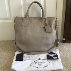 Authentic Prada SACCA 2 Manici tote brand new condition,it was purchased in Nordstrom,100% authentic,color is POMICE,comes with dust bag,cards and price tag,NO TRADE! Prada Bags Totes