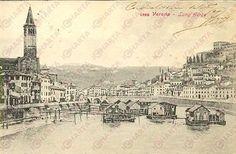 1900 ca VERONA Case galleggianti sul LUNGADIGE *Cartolina postale FP VG Verona, Paris Skyline, History, Travel, Card Stock, Italy, Pictures, Fotografia, Historia