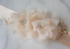 Pale Peach Blush Sash Beaded Flower Wedding Belt by TheRedMagnolia, $104.00