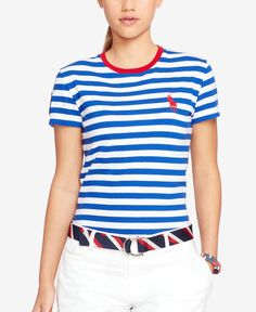 4bb5aa31809 Polo Ralph Lauren Team USA Closing Ceremony Striped T-Shirt Women - Tops -  Macy s