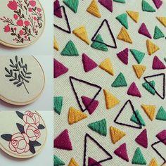 Love the triangles! Kurti Embroidery Design, Hand Embroidery Flowers, Embroidery On Clothes, Hand Work Embroidery, Hand Embroidery Stitches, Embroidery Fabric, Hand Embroidery Designs, Beaded Embroidery, Cross Stitch Embroidery