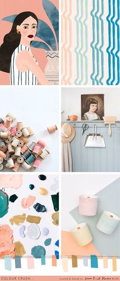 Pretty and feminine colours in todays palette where soft peaches and pinks meet washed blues and duck egg tones with pops of ochre and deep. Colour Schemes, Color Trends, Color Combinations, Color Palettes, Color Swatches, Color Theory, Color Inspiration, Mood Boards, Pantone