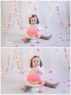 sweet little girl eating cake