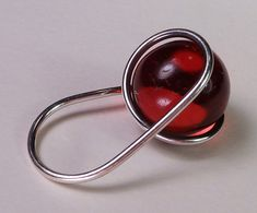 Fine Vintage Modernist Sterling Red Ball Ring, Bent K Knudsen Denmark