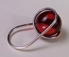 Fine Vintage Modernist Sterling Red Ball Ring, Bent K Knudsen Denmark