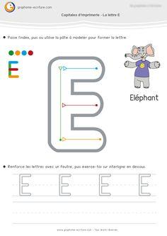 Écriture MS Capitales d'imprimerie Droites– E L F H I T. Une feuille d'écriture par lettre CAPITALE E, L, F, H, I,T pour apprendre à écrire en Moyenne Section.