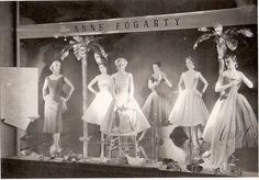 This window is from 1953 featuring the new full-skirted, crinoline lined Anne Fogarty dresses Vintage Store Displays, Store Window Displays, Vintage Display, Vintage Stores, Retail Displays, Display Windows, Shop Displays, Fashion Moda, Retro Fashion