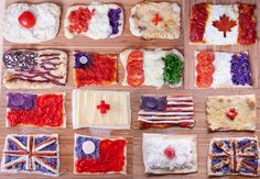 Pizza Flags with Recipes/Instructions for Each.  Flavors & ingredients for each country inspired by meals or ingredients from or associated with each country.  Canada, United Kingdom, Italy, France, United States, Japan, Taiwan.  Would be great to incorporate when teaching kids about other countries.