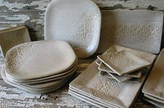 Farmhouse White Pottery Dinnerware - BUILD YOUR OWN set - Rustic - Handmade Pottery - Dishes - Place setting