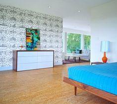 Cork floor and midcentury modern design maybe just upstairs? forna cork silver birch