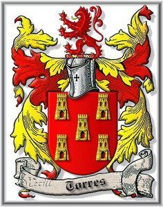 Torres es un apellido toponímico. Proviene del sustantivo torre (latín, turris). Es un apellido muy común en España. Es originario de Castilla y las primeras referencias de este apellido se remontan al siglo XI. El apellido es un símbolo de poder y riqueza en el escudo se representa con 5 torres de oro, depende de la región de donde sea la familia descendiente de Torres puede variar su número de torres o símbolos en el escudo inclusive el color de las torres. Photo