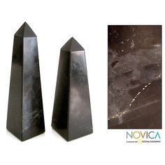 Novica Towers Set of 2 Artisan Handmade Onyx Gem Art Powerful Decor Symbol or Paperweight Gift Obelisk Sculptures