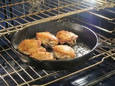 baking chicken in a cast iron skillet: 6 chicken thighs Kosher salt and black pepper 1 Tbsp olive oil 1.  PREP:  Preheat the oven to 475.  Season the chicken all over with salt and pepper.