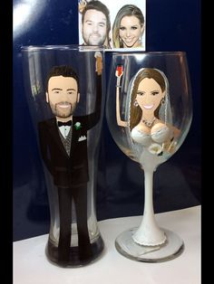Mike Shay and Scheana Marie Bride and Groom Glasses custom painted for the happy couple! Www.cyndiewade.com