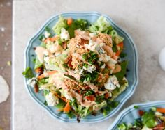 Crunchy Buffalo Chicken Salads with Bacon and Spicy Ranch.