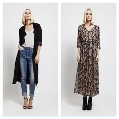 Goldie's Karley print dress and a classic black Trench! ❤️