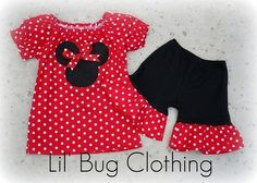 Red White Polka Dot Minnie Mouse Peasant Top And Black ruffle Short - easy to make!