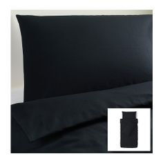DVALA Quilt cover and 2 pillowcases, black black 150x200/50x80 cm