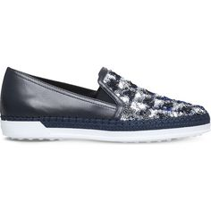 Tods Gomma Rafia leather slip on trainers ($295) ❤ liked on Polyvore featuring shoes, sneakers, espadrille flats, slip on shoes, slip on sneakers, espadrille sneakers and leather flats