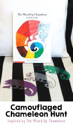 I love this fun activity based on The Mixed-Up Chameleon by Eric Carle. Read the book and then play the Camouflaged Chameleon Hunt (I spy or hide and go seek game idea) !!