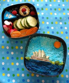 Opera House and Sydney Harbour bento by Sakurako Kitsa // this is a beautiful work of ART! Lunch Box Bento, Cute Bento Boxes, Lunch Boxes, Kawaii Bento, Oriental, Bento Recipes, Cute Japanese, Japanese Food, Edible Food