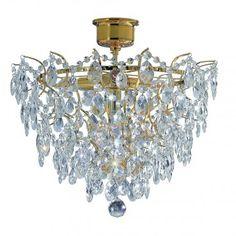 Złota lampa sufitowa kryształowa Rosendal - LampyTanie - 1307 PLN