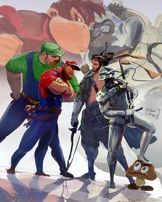 ArtStation - Game Over, Laszlo Kiss mario and luigi vs genji and hanzo Donkey Kong vs Winston Overwatch Comic, Overwatch Memes, Overwatch Fan Art, Game Character, Character Design, Overwatch Wallpapers, Kiss Art, Cartoon Crossovers, Video Game Art