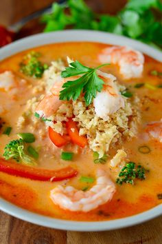 Shrimp Easy Paleo Dinners For Weeknights The Paleo Running Momma. Coconut Red Curry Shrimp Soup ~ Real Food With Dana. Coconut Red Curry Shrimp Soup ~ Real Food With Dana. Red Curry Shrimp, Shrimp Soup, Thai Shrimp, Shrimp Meals, Healthy Soup Recipes, Real Food Recipes, Paleo Soup, Chili Recipes, Paleo Diet