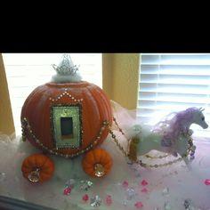 Pumpkin Carriage for Princess Party Holidays Halloween, Halloween Themes, Halloween Pumpkins, Halloween Crafts, Halloween Party, Halloween Decorations, Pumpkin Decorating Contest, Pumpkin Contest, Fall Pumpkin Crafts