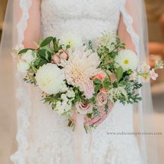 Gorgeous bouquet with Dahlia, roses, berries and astilbe.  lots of texture in blush and ivory by Bloom & Co. Photo by Andrea's Impressions Photography. Planning by A Divine Affair www.adivineaffair.ca