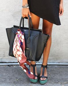 Dress: Cameo  |  Platforms: Loeffler Randall  |  Bag: Céline  |  Scarf: Marni x H  |   Bracelets: the Two Bandits, Polyvore, J.Crew (image: sincerelyjules)