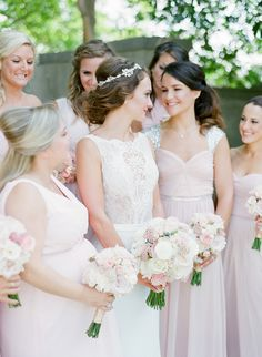 Bridesmaids happier than ever: Photography : Jody Savage Photography Read More on SMP: http://www.stylemepretty.com/illinois-weddings/lake-forest/2016/11/11/a-vintage-meets-classic-chicago-wedding-sweet-pup-included/