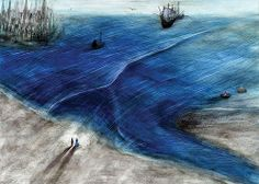 """Ilustration to the boek """"De magere duif en de vette meeuw"""". Tekst Klaas Verplancke."""