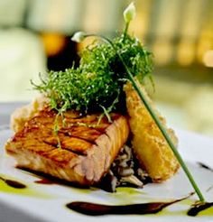 Teriyaki salmon with a wasabi potato croquette! Yum! A little complicated but definitely worth a try!