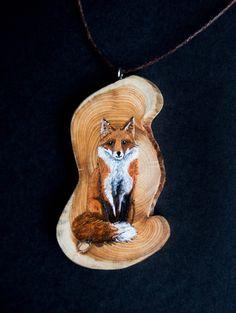 Hand painted wooden Fox art pendant by hoyhenenkevytta on Etsy