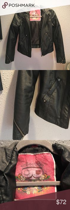 Black faux leather moto jacket In great condition black faux leather moto jacket. Size small, with attached hoodie. Zipper details on the sleeves, and two side pockets. A truly beautiful peace. By: Collection B. Bernardo.                                                                Forever 21  Free People Nordstrom  GAP Old Navy Victoria's Secret Acacia Summer Abercrombie  American Eagle Ella Moss Nike Calvin Klein. Bernardo Jackets & Coats