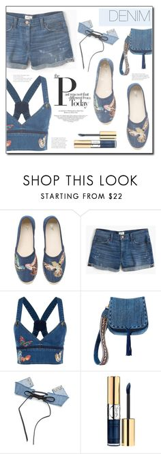 """""""Denim"""" by tina-miholic ❤ liked on Polyvore featuring RED Valentino, J.Crew, Valentino, Steve Madden and Yves Saint Laurent"""